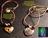 HeartOn Handcrafted Chocolate Swirl Heart Pendant Leather Rope Necklaces