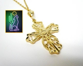 Sterling Silver Vermeil Cross Pendant on 18 inch Chain