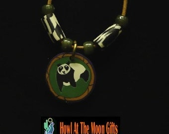 Fimo Panda Bear Pendant Necklace and Matching Earring Set