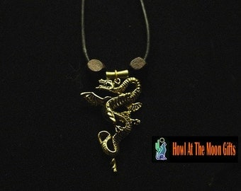 Handcrafted Dragon Necklaces in Brass or Silver on Italian Leather