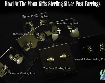 Howl At The Moon Gifts Sculpted Sterling Post Earrings