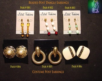Beaded Post Dangle and Costume Post Earrings    VINTAGE