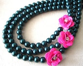 Navy Blue Necklace Bridesmaid Jewelry Flower Necklace Statement Jewelry Triple Strand Statement Necklace Blue Wedding Pink Beadwork