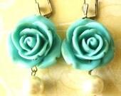 Rose Earrings Flower Earrings Turquoise Jewelry Dangle Earrings Bridesmaid Jewelry Bridesmaid Earrings Beach Wedding Maid of Honor Gift Drop