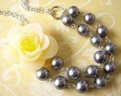 Statement Necklace Grey Necklace Flower Necklace Bib Necklace Yellow Jewelry Bridal Jewelry Gift For Her