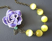 Flower Necklace Statement Necklace Purple Jewelry Yellow Necklace Brass Leaf Necklace Bridesmaid Jewelry Beadwork