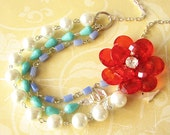 Bib Statement Necklace Flower Necklace Pearl Jewelry Multi Strand Necklace Rose Jewelry Red and Turquoise