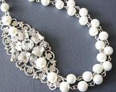 Wedding Jewelry Bridal Necklace Bridal Jewelry Pearl Wedding Necklace Rhinestone Pearl Jewelry Multi Strand