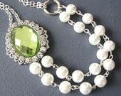 Bridal Jewelry Wedding Jewelry Rhinestone Pearl Necklace Green Wedding Necklace Bridesmaid Jewelry Set