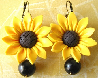 Sunflower Earrings Flower Jewelry Yellow Earrings Sunflower Jewelry Dangle Earrings Gift Ideas Dangle Earrings
