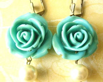 Drop Earrings Rose Earrings Flower Earrings Turquoise Jewelry Dangle Earrings Bridesmaid Jewelry Beach Wedding