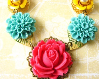 Flower Necklace Turquoise Jewelry Coral Necklace Bib Necklace Single Strand Gift For Her