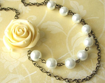 Bridesmaid Jewelry Rose Flower Necklace Bridal Jewelry Ivory Necklace White Pearl Necklace Bib Necklace