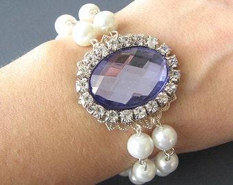 Bridesmaid Jewelry Wedding Bracelet Bridal Jewelry Pearl Bracelet Purple Wedding Jewelry Bridal Bracelet Bridesmaid Gift