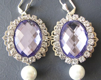 Wedding Jewelry Bridal Earrings Purple Jewelry Rhinestone Earrings Dangle Earrings Purple Earrings Bridesmaid Gift