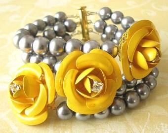 Bridal Jewelry Bridesmaid Jewelry Set Bridal Cuff Bracelet Flower Bracelet Yellow Jewelry Grey Bracelet by Zafirenia