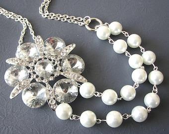 Bridal Jewelry Wedding Statement Necklace Wedding Jewelry Rhinestone Necklace Bridesmaid Gift Flower Jewelry