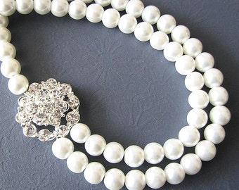 Bridal Jewelry Rhinestone Pearl Necklace Crystal Wedding Jewelry Flower Necklace Pearl Bridal Necklace Double Strand