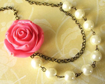 Flower Necklace Wedding Necklace Bridesmaid Jewelry Set Rose Necklace Pink Jewelry Statement Necklace Wedding Jewelry