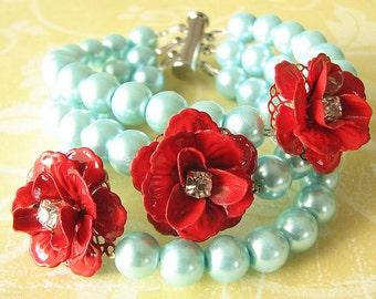 Flower Bracelet Bridal Jewelry Rose Bracelet Aqua Jewelry Red Bracelet Beadwork