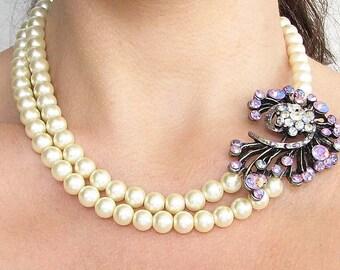 Bridal Necklace Wedding Jewelry Bridal Jewelry Pearl Necklace Rhinestone Necklace Wedding Necklace Purple Necklace