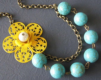 Turquoise Jewelry Yellow Necklace Bridesmaid Jewelry Flower Necklace Enamel Jewelry Beaded Necklace Gift For Her