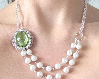 Bridesmaid Jewelry Bridal Jewelry Wedding Jewelry Pearl Necklace Green Wedding Necklace Rhinestone Necklace