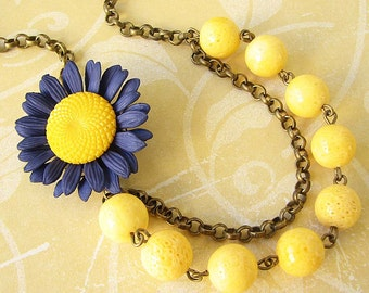 Flower Necklace Navy Blue Jewelry Statement Necklace Yellow Jewelry Bridesmaid Jewelry Set Bib Necklace