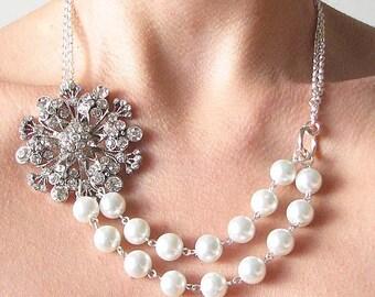 Bridal Necklace Wedding Jewelry Crystal Necklace Bridal Jewelry Rhinestone Necklace Bridesmaid Jewelry by Zafirenia