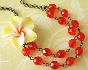 Flower Necklace Orange Jewelry Yellow Necklace Bridesmaid Jewelry Tropical Necklace Double Strand Beadwork