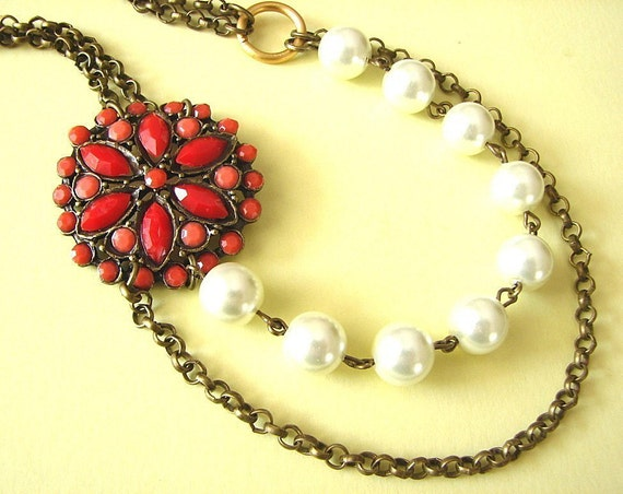 Coral Necklace Bridesmaid Jewelry Flower Necklace Red Jewelry Pearl Necklace Bridal Gift Bib Necklace