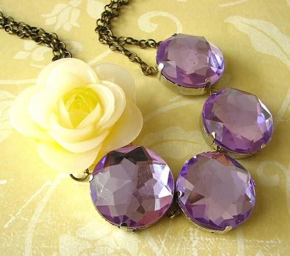 Purple Statement Necklace Flower Necklace Purple Necklace Bridesmaid Necklace Maid of Honor Gift
