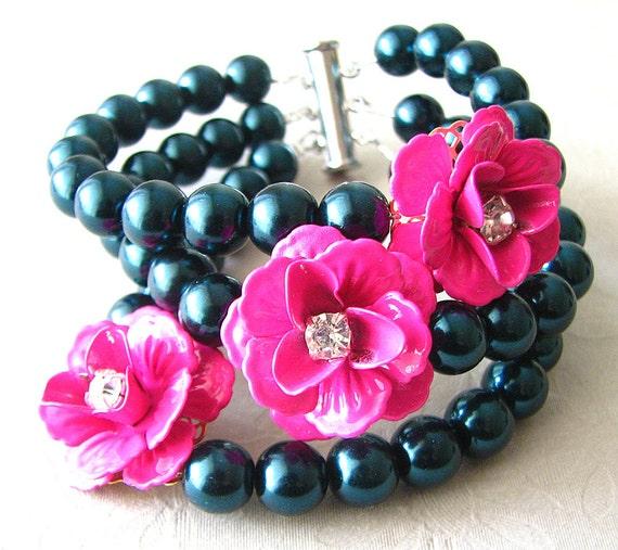 Cuff Bracelet Flower Bracelet Rose Jewelry Navy Blue Bracelet Bridesmaid Jewelry Beaded Bracelet Pink Bracelet Gift