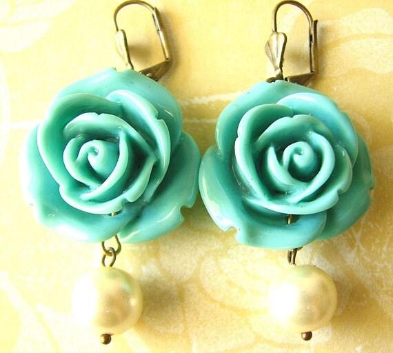 Drop Earrings Rose Earrings Flower Earrings Turquoise Jewelry Dangle Earrings Bridesmaid Jewelry Beach Wedding