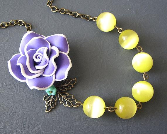 Flower Necklace Statement Necklace Purple Jewelry Yellow Necklace Brass Leaf Necklace Bridesmaid Jewelry Beadwork