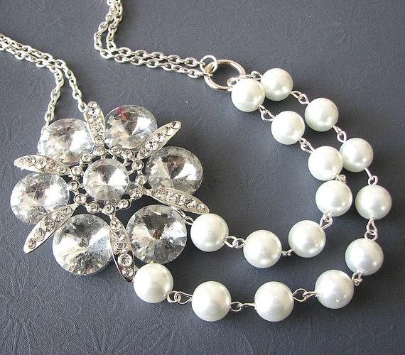 Bridal Jewelry Wedding Statement Necklace Wedding Jewelry Rhinestone Necklace Bridesmaid Gift Flower Jewelry