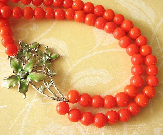 Statement Necklace Orange Jewelry Flower Necklace Green Jewelry Double Strand Wedding Gift Beadwork