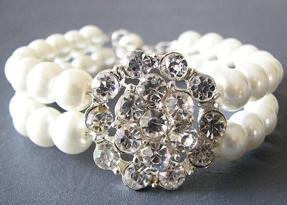 Wedding Bracelet Bridal Jewelry Wedding Jewelry Pearl Bracelet Crystal Rhinestone Flower Bridesmaid Gift Set