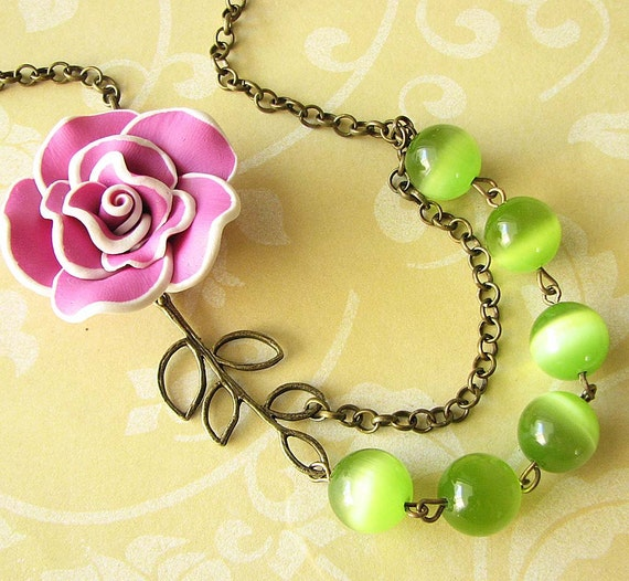 Flower Necklace Bib Necklace Bridesmaid Jewelry Lime Green Necklace Statement Jewelry Leaf Necklace Gift For Her