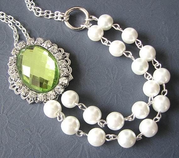 Bridal Jewelry Wedding Jewelry Pearl Necklace Green Wedding Necklace Bridesmaid Jewelry Set Rhinestone Necklace