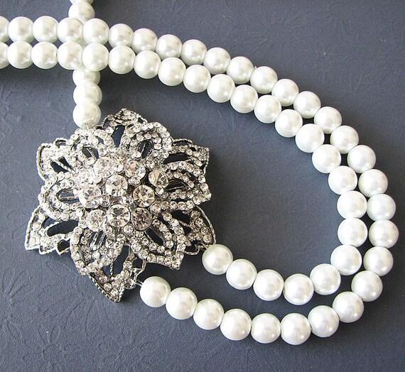 Bridal Jewelry Statement Wedding Necklace Wedding Jewelry Set Rhinestone Flower Necklace Pearl Necklace Double Strand Bridesmaid Gift