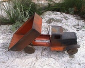 Vintage Toy Dump Truck Metal Tipper Lorry with Wood Wheels