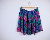 SALE...vintage Floral and Paisley Mini Skirt  .  Size  S\/M