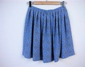 vintage  Light Blue Print Soft Pleated Skirt  .  Size  S\/M