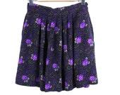 SALE...vintage Floral Soft Pleated Skirt  .  Size  M