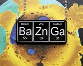 BAZINGA...Black   BaZnGa   Necklace on silver plated chain  ... periodic table inspired jewelery