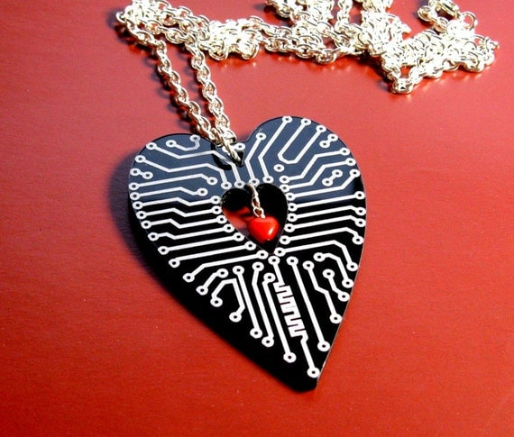Circuits of the Heart ........ black engraved pendant