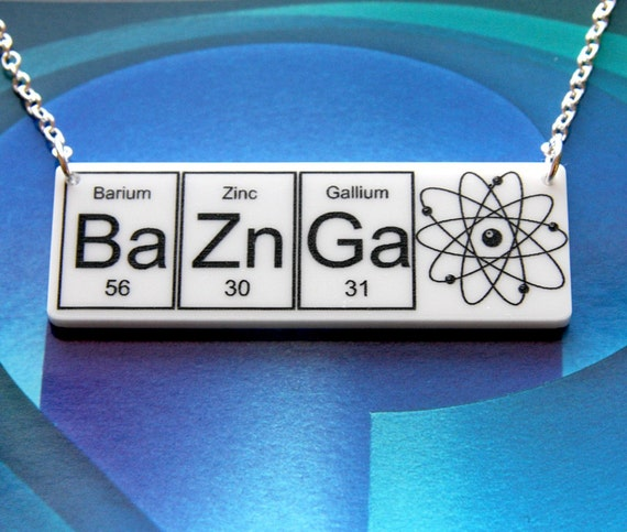 NEW BAZINGA....White  BaZnGa   Necklace  silver plated chain ... periodic table inspired jewelery