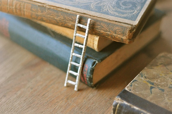 Reserved - tiny book ladder - altered book sculpture