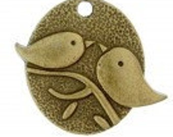 Flat Oval Love Bird Antique Brass Charms Pack Of 11 charms, Last Chance.